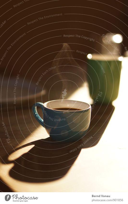 Muss! Lebensmittel Frühstück Getränk Heißgetränk Kaffee Espresso Teller Tasse Becher hell Wärme blau braun grün schwarz weiß Wasserdampf heiß frisch Duft
