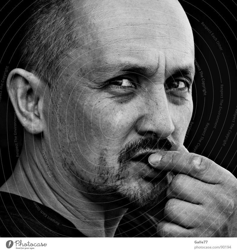 Levent Mensch Mann weiß Gesicht schwarz Ernährung Kopf Denken Kontakt Fragen skeptisch intensiv hypnotisch unaufmerksam