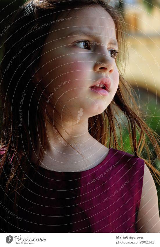 Überraschtes kleines Mädchen Lifestyle elegant Stil Garten Mensch Kind Kopf Haare & Frisuren Gesicht Auge 1 3-8 Jahre Kindheit Natur Kleid brünett Denken Blick