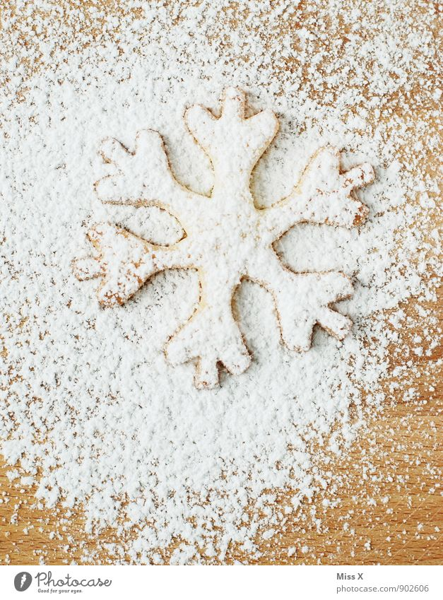 Plätzchen Weihnachten & Advent weiß Winter Schnee Lebensmittel Schneefall Eis Ernährung süß Frost lecker Backwaren Zucker Teigwaren Weihnachtsgebäck