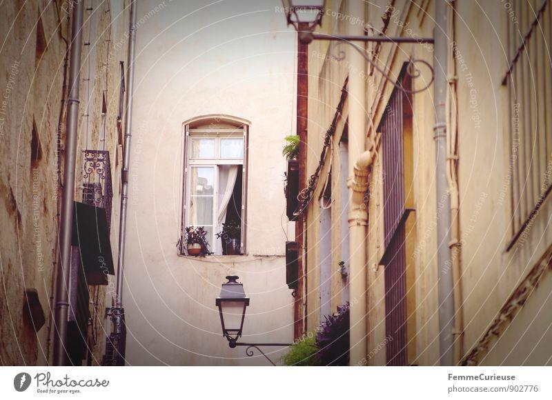 LaFrance_02 Hauptstadt Stadtzentrum Altstadt Haus Mauer Wand Fassade Paris Frankreich Gasse Straßenbeleuchtung Fenster Gardine wehen Balkonpflanze Idylle Heimat