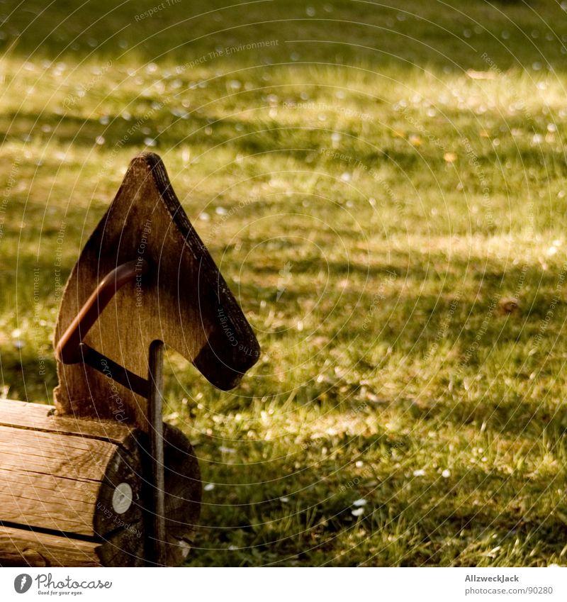 Wooden Wallach Freude Einsamkeit Spielen Holz Gras Kindheit Freizeit & Hobby warten Pause Pferd Rasen Verkehrswege Kindergarten parken Spielplatz Reitsport