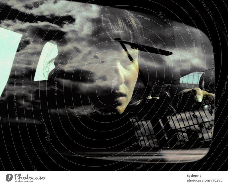 Me against the World Mensch Frau Himmel Wolken Gesicht Gefühle Denken einzigartig Spiegel Wissenschaften mystisch Identität Selbstportrait Charakter Auslöser