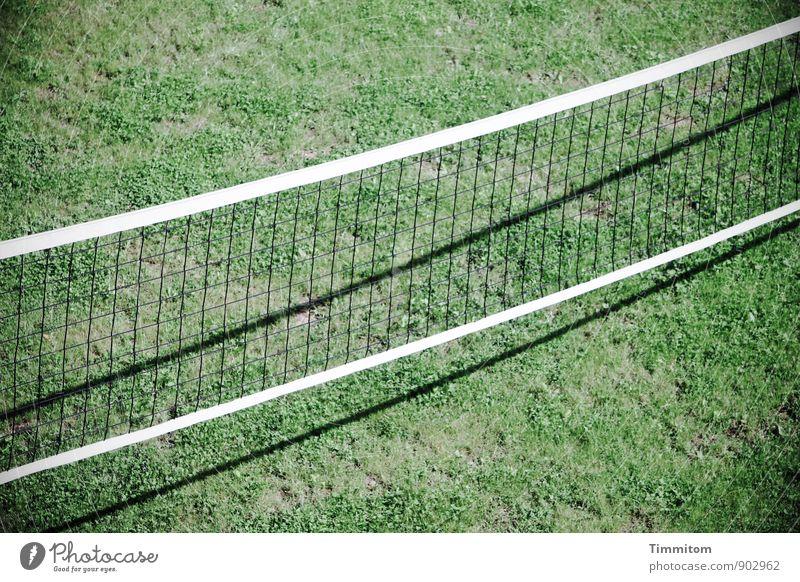 Bereit! grün weiß schwarz Gefühle Gras Sport Linie warten ästhetisch einfach Sauberkeit sportlich Spielfeld Netz