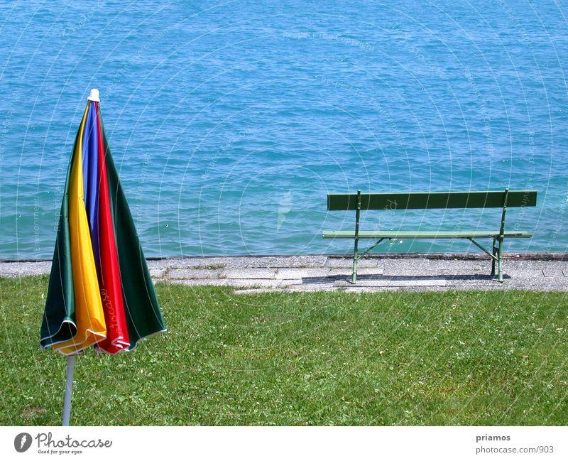 See Einsamkeit Sommer Bank Sonnensschirm