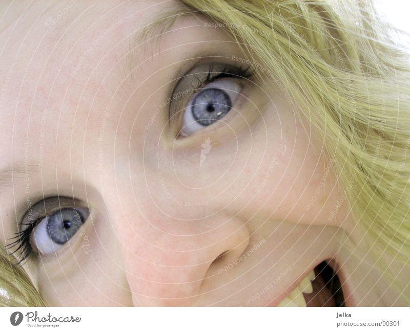 wajahu! Mensch Frau blau Freude Gesicht Erwachsene Auge Haare & Frisuren blond Mund Nase Locken Wange Grimasse lockig Augenfarbe