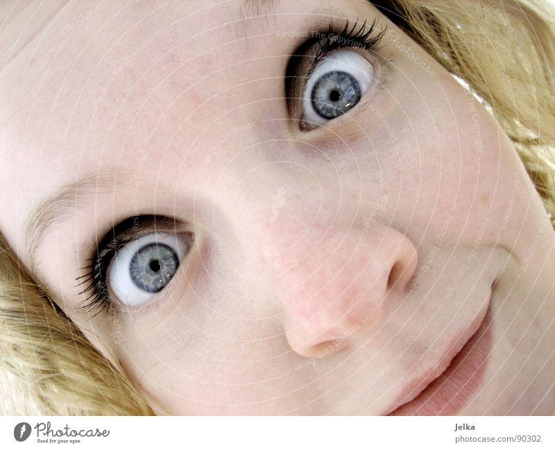 glotzkopf Mensch Frau blau Gesicht Erwachsene Auge Haare & Frisuren blond Mund Nase Locken Gesichtsausdruck grinsen Wange Grimasse lockig