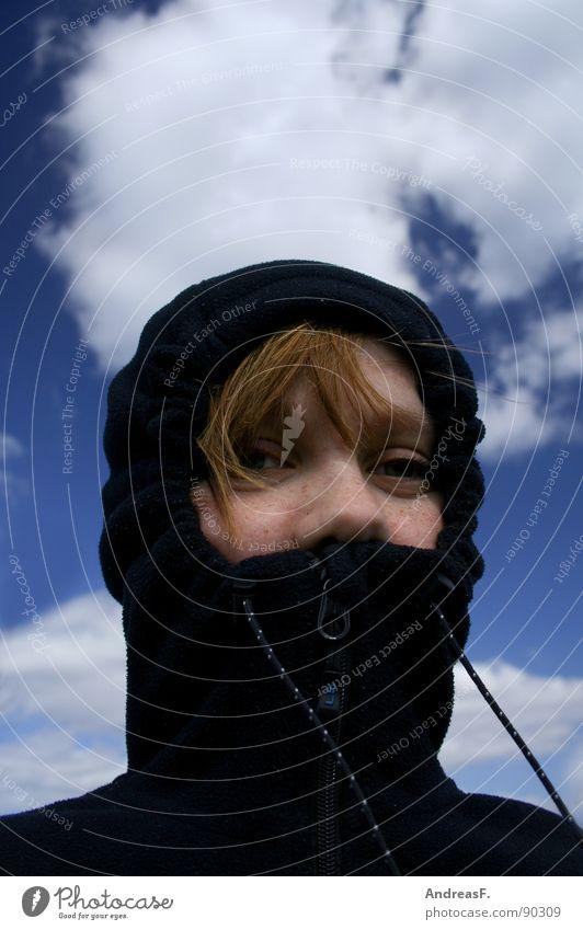 windbrakerin Jugendliche Himmel Winter Gesicht Wolken kalt Eis Wind Ausflug Schutz Wissenschaften Sturm Jacke Leidenschaft Mütze verstecken