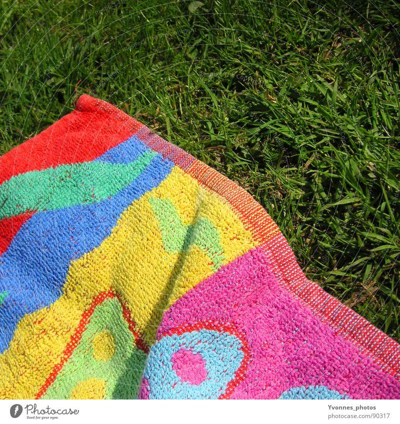 Sommer Gras grün mehrfarbig Handtuch Badetuch sommerlich grasgrün Wiese Frühling Sonnenbad Strand Ferien & Urlaub & Reisen Baggersee See Erholung eckig Quadrat