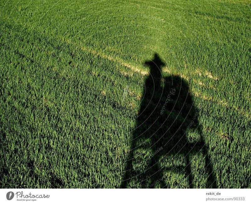 Fotojäger auf der Pirsch Feld Hochsitz Jäger Fotograf hervorrufen zielen schießen grün Holz Fotografieren Schatten anschleichen scharf stellen Klettern hoch