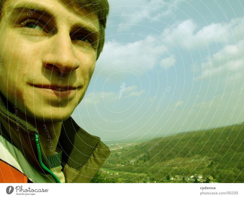 Gute Aussicht Mann Kerl Ferne Sehnsucht Denken stehen Erfahrung Erwartung Vogelperspektive Mensch Gefühle Typ Natur Landschaft Himmel Freiheit Blick Einsamkeit