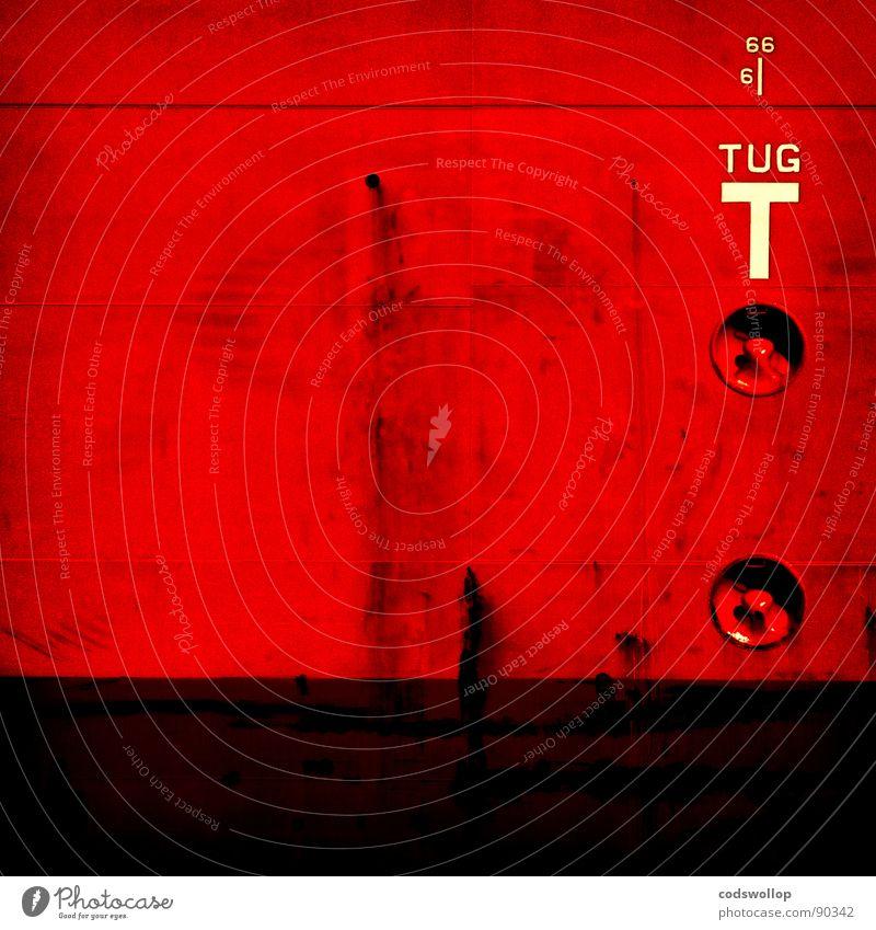 teufel tug gekratzt Wasserlinie rot Logo Rust Wasserfahrzeug abstrakt 666 Teufel Hafen Industrie gefährlich signage scratched waterline red white ship harbour