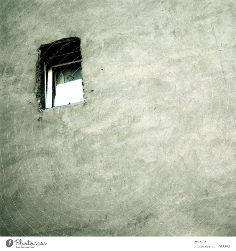 Leben Singleton Einsamkeit Fenster Architektur Mauer Hintergrundbild Angst Ordnung modern Häusliches Leben Trauer Sauberkeit Aussicht Quadrat Loch Textfreiraum gefangen