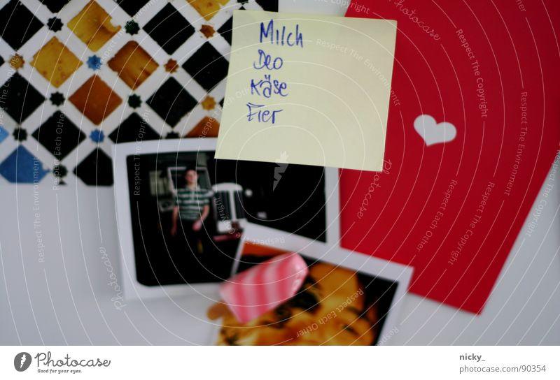 i <3 my kitchen-kitsch schwarz Farbe Eis rosa Bild Postkarte Zettel Musiknoten Mosaik Kühlschrank Magnet