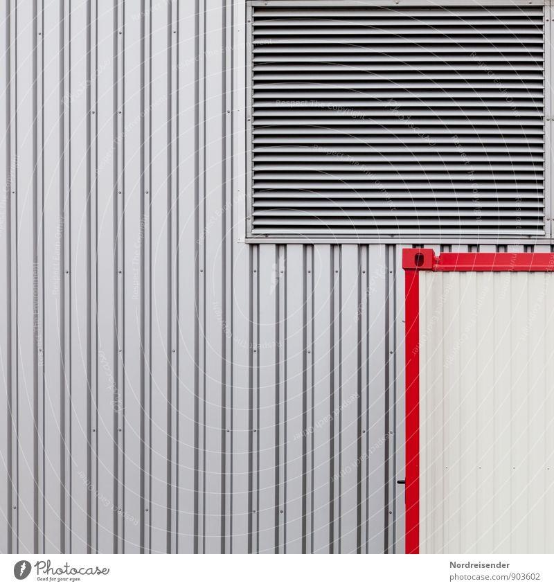 Klare Industriestrukturen rot Wand Architektur Mauer Gebäude grau Hintergrundbild Linie Metall Fassade Design Technik & Technologie einfach Streifen