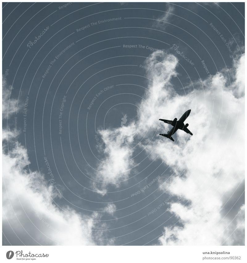 give me a ticket for an aeroplane Ferien & Urlaub & Reisen Himmel Wolken Flughafen Flugzeug blau weiß Fernweh the Letter Flughafen Berlin-Tegel Silhouette
