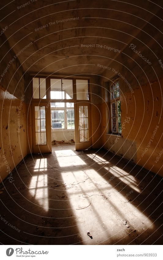 Flutlicht Häusliches Leben Wohnung Haus Renovieren Innenarchitektur Raum Wohnzimmer Ruine Gebäude Architektur Mauer Wand Fassade Balkon Fenster alt kaputt braun