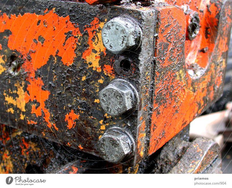 dirty orange dreckig Technik & Technologie Rost Kran Schraube Bagger Elektrisches Gerät
