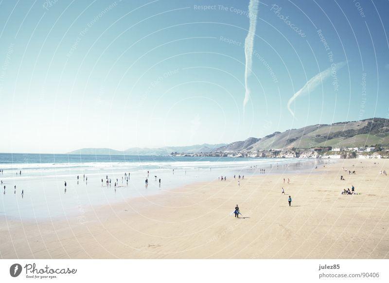 Pismo Beach, CA Strand Meer weiß grell Flugzeug März Küste blau hell Mensch pismo beach slo county USA Westküste Sonne