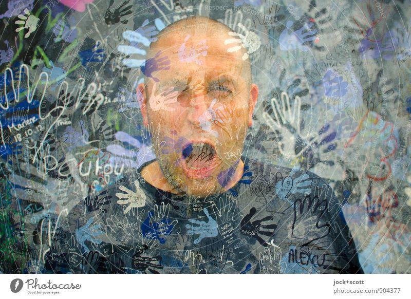 Schrei doch wenn du kannst Mann Hand Erwachsene Gesicht außergewöhnlich bedrohlich viele Wut Stress Wort Gesellschaft (Soziologie) schreien Doppelbelichtung