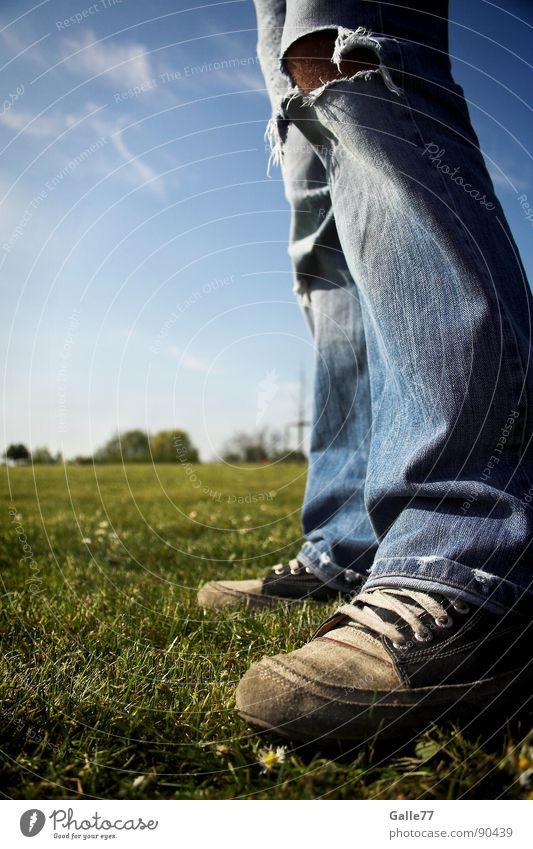 bodenständig Sommer Wiese Fuß Schuhe frei Horizont Perspektive Jeanshose stehen kaputt Chucks Bekleidung standhaft Turnschuh