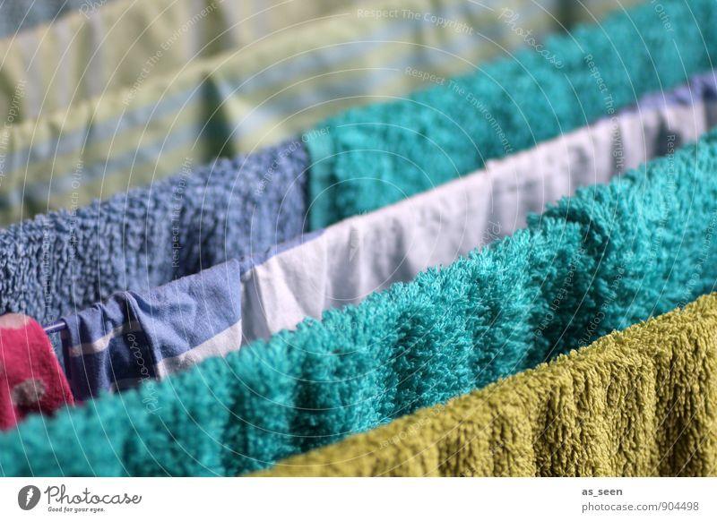 Hang up blau grün Farbe hell rosa Wohnung Ordnung Häusliches Leben frisch nass einfach Sauberkeit Bettwäsche rein Körperpflege türkis