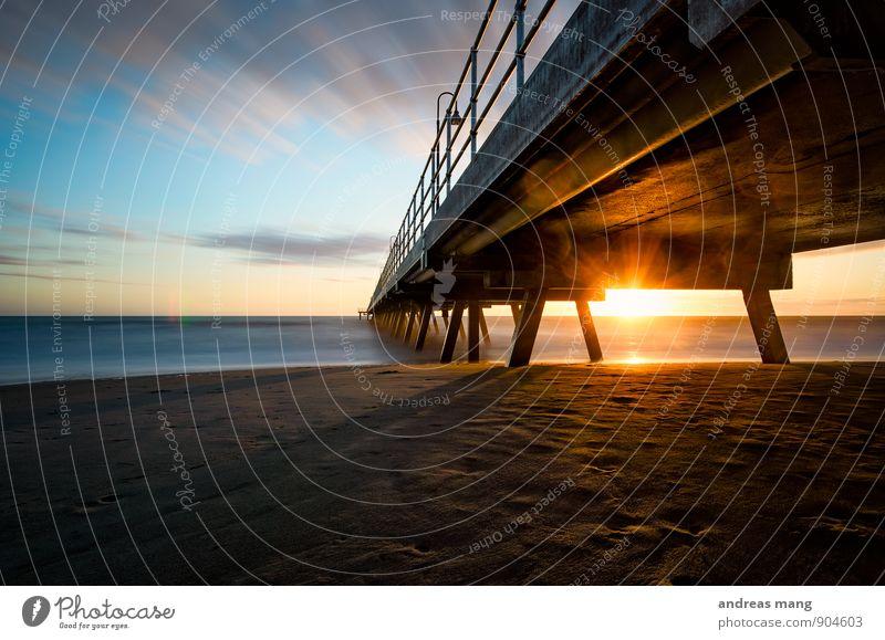 Der Steg Wolken Horizont Sonne Sonnenaufgang Sonnenuntergang Sonnenlicht Küste Strand Meer Australien Geländer Neugier Hoffnung Beginn Bewegung Ende