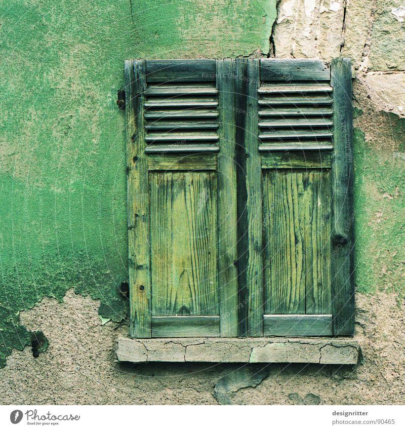 abgefärbt alt grün Farbe Fenster Holz Stein Mauer Ruine Holzbrett Putz Fensterladen Holzmehl zerbröckelt Ton-in-Ton