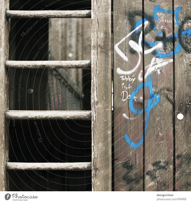 Komm spielen ... alt Freude Einsamkeit Holz Graffiti Klettern Kindheit Leiter Holzbrett Spielplatz gebraucht sprühen gebrauchen Tagger Vandalismus Pubertät
