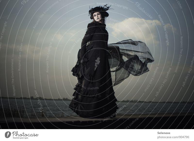 aarrrh Mensch Frau Himmel Natur Wasser Meer Landschaft Wolken Ferne Umwelt Erwachsene feminin Küste Horizont Mode Bekleidung