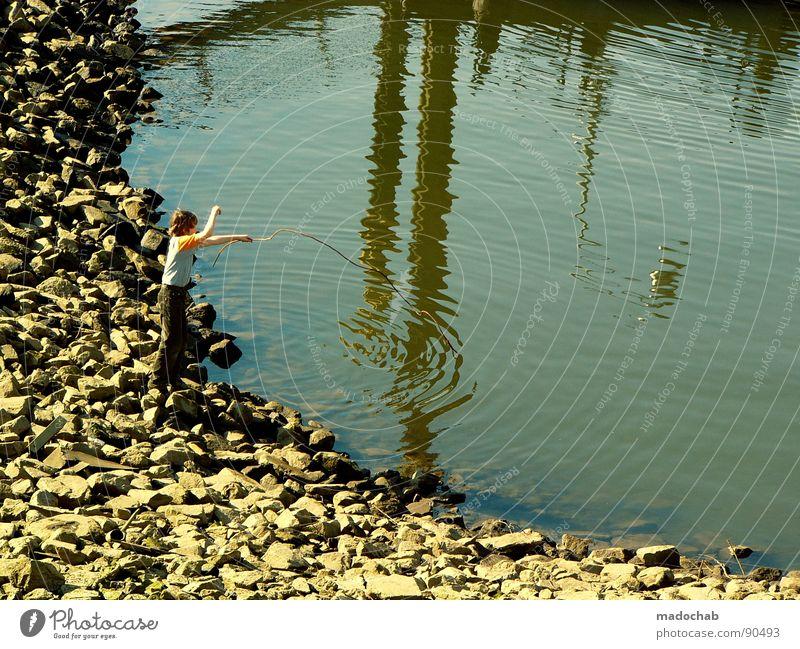 CATCH YOUR ILLUSIONS II Mensch Kind Jugendliche Wasser Sommer Freude Spielen Junge Stein See träumen Freizeit & Hobby Seil Hafen Angeln Teich