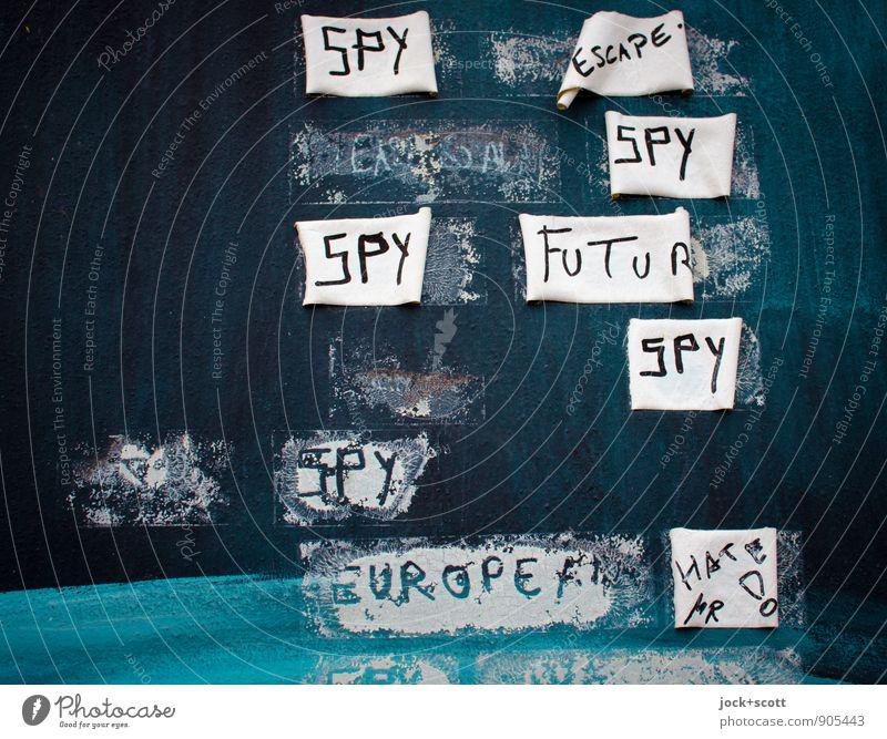 SPY ESCAPE SPY FUTURE SPY EUROPE Subkultur Straßenkunst Berliner Mauer Klebespuren Klebeband Wort fest einzigartig kaputt trashig Zukunftsangst Misstrauen Hass