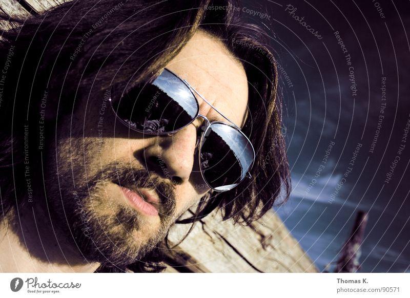 Summer Porträt Schulter Brille Sonnenbrille lang Torso Schlüsselbein Reflexion & Spiegelung Haare & Frisuren Stirn Bart langsam verschlafen Haarschnitt