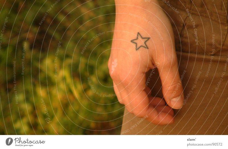Lauras Jugendjahre.... Jugendliche Hand Wiese Freiheit braun Haut Stern (Symbol) weich zart Tattoo Hose Tiefenschärfe Punk Jugendkultur Fingernagel Musikfestival