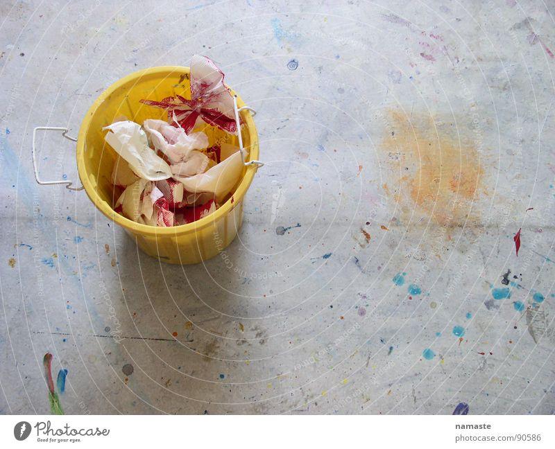 fertig... Eimer gelb Gemälde Farbfleck Müll Acrylfarbe Kunst Kunsthandwerk oskar Fleck malabfall