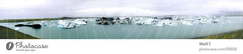 Panorama on the rocks Island Skandinavien Gletscher Gebirgssee Eisberg verwittert Abgas Wiese Wolken Panorama (Aussicht) weiß kalt rau Wellen Menschenleer