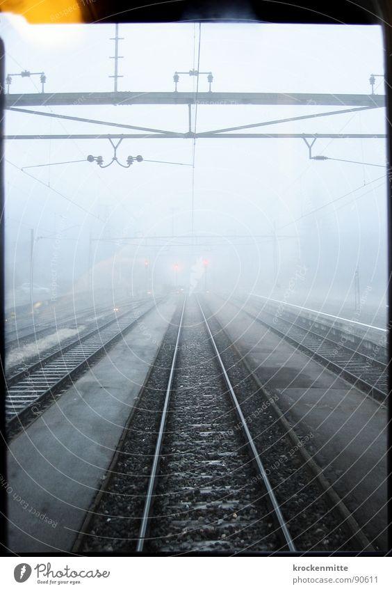 Partir, c'est mourir un peu Eisenbahn Gleise Nebel Fenster Verkehr Abschied Trauer wegfahren kommen Einfahrt kalt Winter Elektrizität Morgen Station Bahnsteig