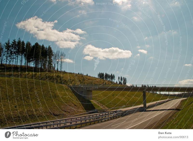 Bahn frei Himmel Natur Wolken Ferne Gefühle Wärme Freiheit Horizont Wetter natürlich Verkehr Elektrizität Fröhlichkeit authentisch Brücke fahren