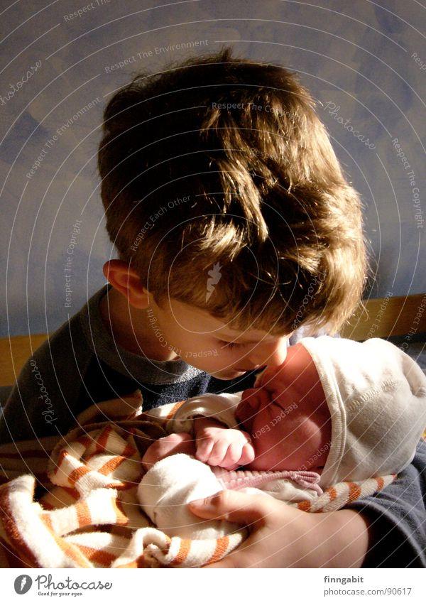 Großer Bruder Junge Traurigkeit Baby klein Familie & Verwandtschaft Trauer Küssen schreien Kleinkind weinen Bruder Zärtlichkeiten Schwester trösten