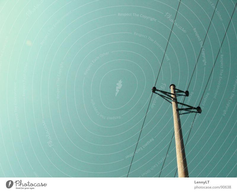 BE THANKFUL FOR WHAT YOU'VE GOT Strommast Hochspannungsleitung Elektrizität türkis Industrie Elektrisches Gerät Technik & Technologie Dienstleistungsgewerbe