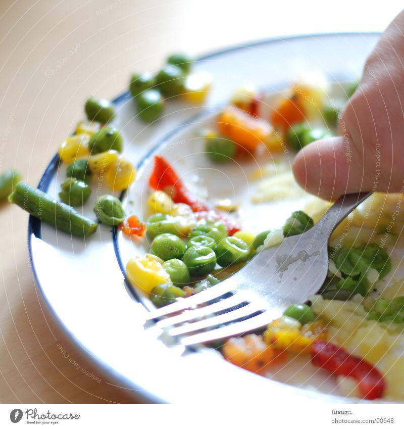 satt Kind Spielen Essen Gesundheit Zufriedenheit Lebensmittel Ernährung genießen Gemüse Gastronomie Appetit & Hunger lecker Teller Bioprodukte Langeweile