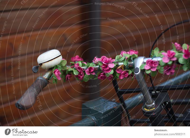 unecht. Lifestyle Stil exotisch Ausflug Fahrrad Blume Stadtzentrum Altstadt Verkehr Fahrradlenker Fahrradklingel Fahrradfahren Blütenkette Metall Kunststoff