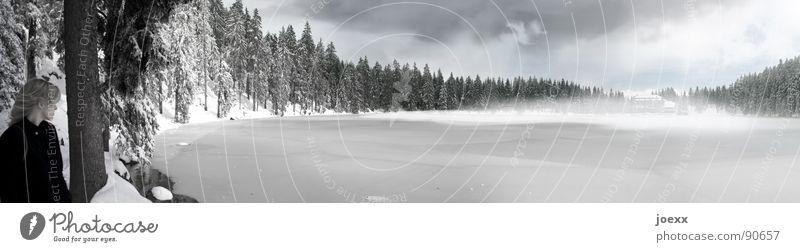 Es kommt … abgelegen Angst Gebirgssee Bergwald Wolken blond Bodennebel dunkel Einsamkeit Eis kalt Ferien & Urlaub & Reisen Frau frieren ruhig Gewitterwolken