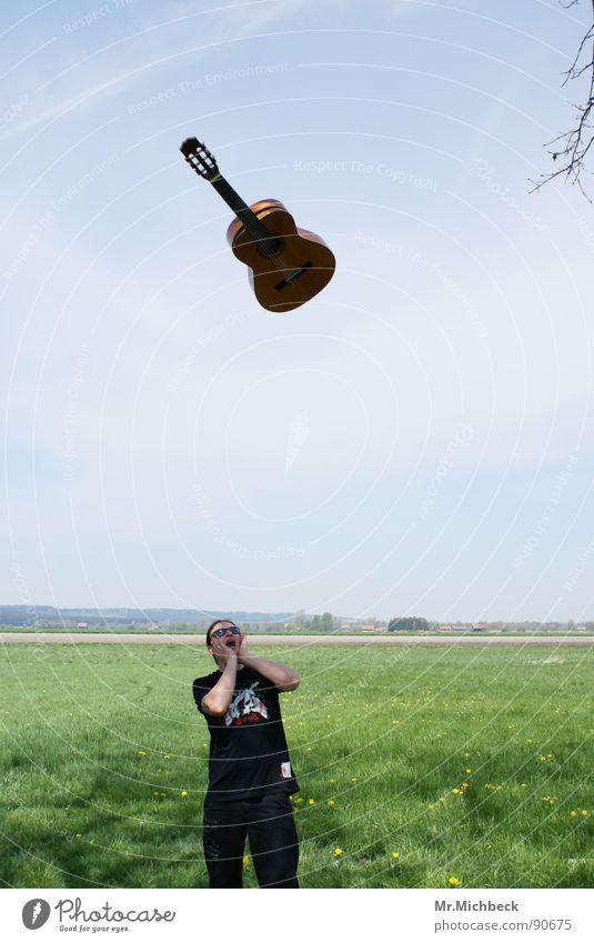 Rock is in the air Himmel Freude Freiheit Luft hell Musikinstrument schreien Gitarre laut