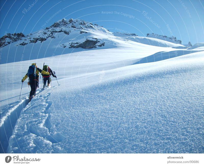 weg zum gran paradiso weiß Winter Sport Schnee Spielen Berge u. Gebirge Stimmung Gipfel Bergsteigen Skitour Schneekristall Winterstimmung Gran Paradiso