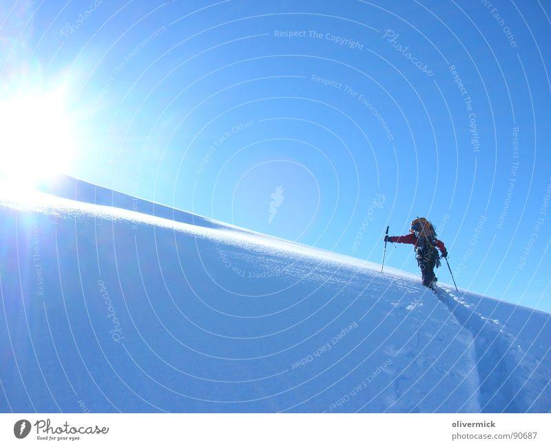 Kampf und Glücksgefühl Gran Paradiso Gegenlicht Schneespur Skitour Bergsteigen Bergsteiger Winter Winterstimmung Sport Spielen Sonne Kontrast Wintersport