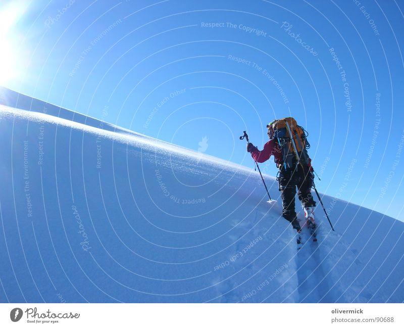 Hard Work brings big pleasure Skitour Gegenlicht Sonnenstrahlen Schneespur Stimmung Winter Winterstimmung Sport Spielen Schatten Kontrast Freude Beleuchtung
