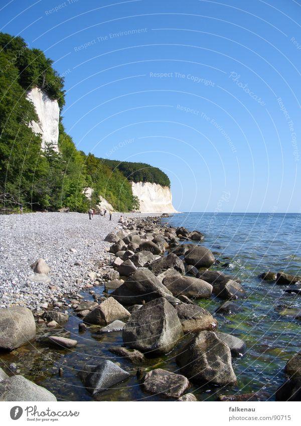 Ostseestrand Klippe Strand Sassnitz Rügen Kies Meer Sommer Ferien & Urlaub & Reisen Küste Kreide Felsen