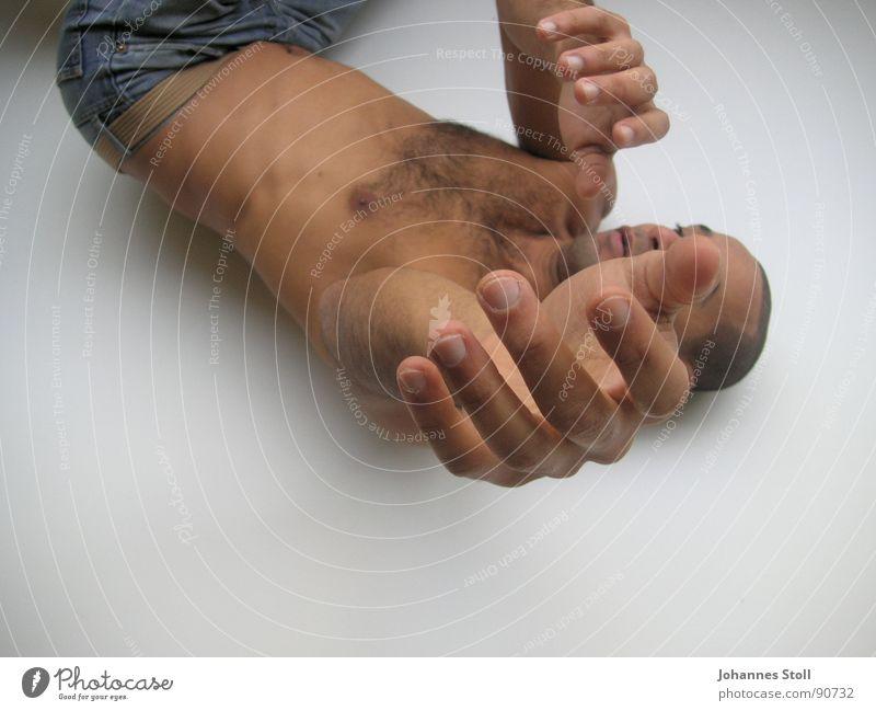 Tänzer Mann Freude ruhig nackt Bewegung Körper Tanzen Elektrizität Kraft Sehnsucht Theaterschauspiel Leidenschaft Gesichtsausdruck fließen Akrobatik muskulös