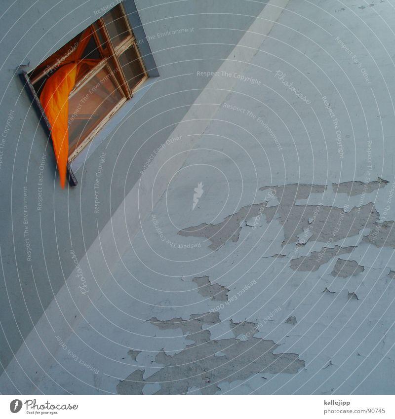 durchzug Sommer Farbe Haus Fenster Leben Wand Architektur Bewegung Luft orange Raum Wind offen Wohnung Armut Häusliches Leben